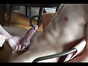 ruined orgasms over and over in bondage chair