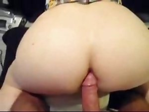 She bends over and spreads her cheekc so he can enter her ass