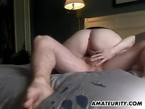Amateur GF sucks and fucks with creampie