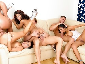 Three nasty whore get all their holes stuffed with big cocks